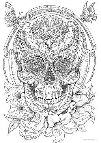 Music Skull | Detailed coloring pages, Shape coloring