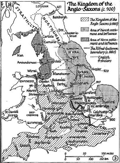 A small-scale map showing the English-Danish-Norse